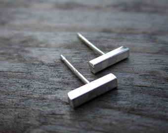 Minimalist earrings - silver bar earrings - modern jewelry - edgy simple posts - studs - bar studs