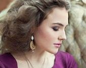 Vintage Portrait Cameos Earrings - Asymetrical Earrings - Angelskin Pink - Leaf - Mismatched - Grande Catherine Earrings (SD0257)