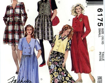 McCall's 6175 Easy Dress Button Front Size 10 12 Uncut Vintage Sewing Pattern 1992