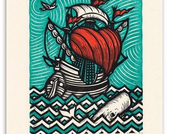 "Sea of Love, an 11""x14"" original three-color woodcut"