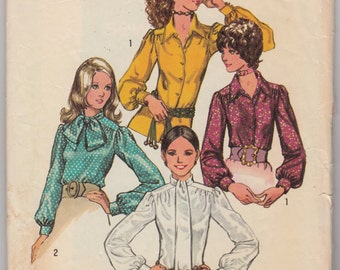 "Vintage Sewing Pattern 1970's Misses Blouses Simplicity 9718 34"" Bust- Free Pattern Grading E-book Included"