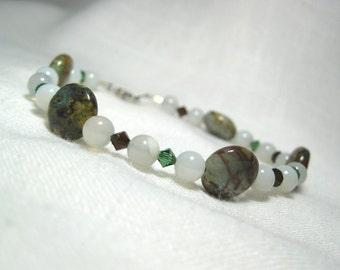 SOLAR Stone Bead Bracelet, Earthy Green Opal, Natural Gray Onyx, Mocca / Tourmaline Swarovski Crystal, Rhodium Plated Clasp, Free Shipping
