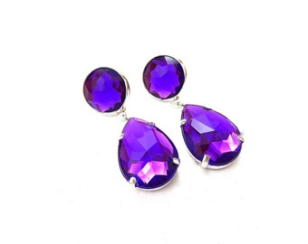 Bright Purple Rhinestone Acrylic Drop Earrings, Simple Purple Acrylic Rhinestone Earrings, Purple Rhinestone Dangle Earrings