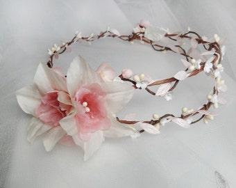 bridal headpiece, wedding hair piece, silk flower hair vine, wedding flower crown, white and pink floral halo, couture silk hair piece