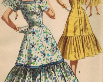 1950s Simplicity 1535 UNCUT Vintage Sewing Pattern Misses Formal Dress Size 14 Bust 32