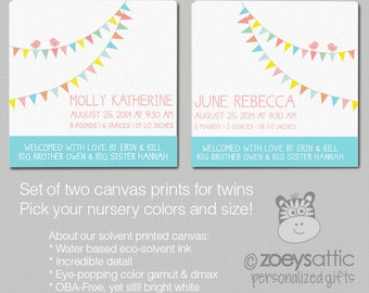 Twins birth announcement canvas  -  gift for twins, TWO canvas prints - unique art for twins