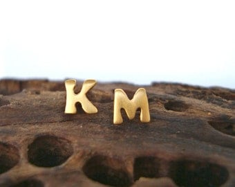 Initial Earring Solid Gold Earrings Tiny 14k gold One Solid Gold Initial Stud Monogram Jewelry dainty Valentine gift personalized womens