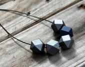 Geometric Wood Bead Necklace, Hand Painted Metallic Gray and Dark Blue - prettywhimsical