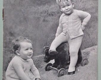 Vintage 1930s 1940s Baby Child's Knitting Pattern Pram Sets Coats Cardigans Breeches Babies 12 - 15 months 30s 40s Original Pattern P & B UK