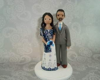 Customized Ethnic Bride & Groom Wedding Cake Topper