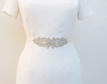 Beaded Bridal Wedding Sash Belt with Rhinestones crystal beads ivory