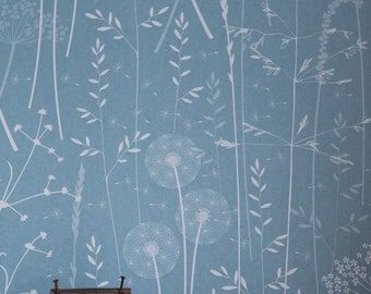 Paper Meadow Wallpaper - Teal