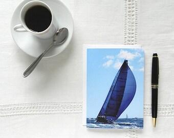 Nautical Blue Card, Sailboat Card, Blue Notecard, Blank Greeting Cards and Envelopes, Ocean Thank You Card, Sympathy Card, Hostess Gift