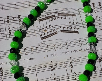SALE 40% OFF- Lime Green and Black Choker Necklace