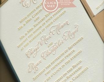 Blush and Gold Wedding Invitation, Letterpress Wedding Invitations, Calligraphy Monogram Wedding Invitation
