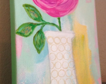Pink Rose in Vase, Flower Original Mixed Media Painting, Girls Room, Summer, Yellow, Mint Green