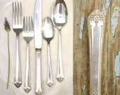 Vintage Silver Plate Flatware Place Setting / 1950's Starlight Pattern / Wedding Silverware