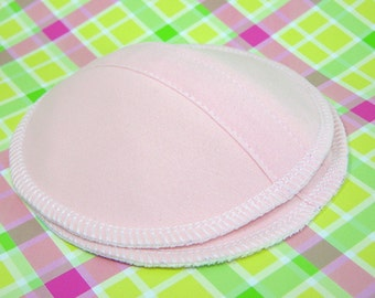 Contoured  Nursing Pads - Pink PUL and Organic Bamboo Fleece  - One Pair - Shaped Leakproof Breastfeed Pad