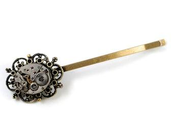 Fancy Steampunk Vintage Watch Bronze Bobby Pin