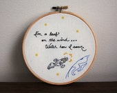 "Serenity Quote 6"" Embroidery Hoop- ""I'm a leaf on the wind"""