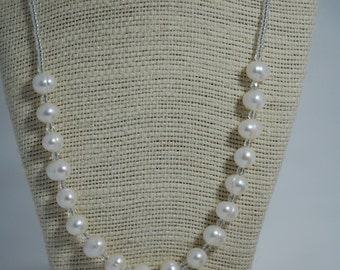 Freshwater pearl necklace with Czech glass & seed beads. White pearls, Sterling silver toggle clasp, bridal, wedding, bridesmaids jewelry.