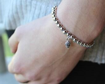 Silver Beaded Pinecone Bracelet.