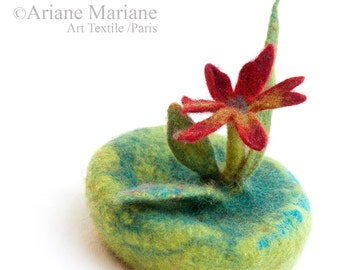 Millinery felted hat confection, green fascinator hair accessory with flower - made to order