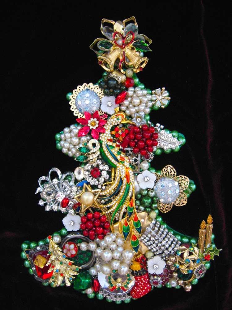 Christmas Tree Vintage Jewelry Mosaic Art Christmas Eve