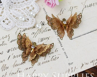 2Pcs High Quality Raw Brass Crystal Triple Wings Butterfly Charms / Pendants with a hoop  (ZZ164)