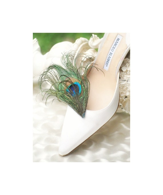 Shoe Clips Royal Iridescent Peacock. Summer Glam. Rockabilly Couture Bridal Bride Maid of Honor, Feminine Burlesque Statement Teal Green Tan