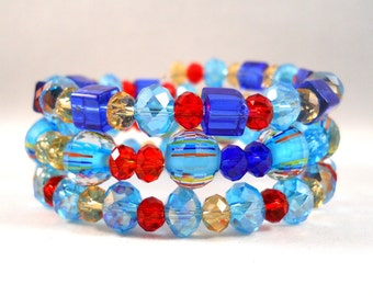 Beaded Bracelet Set, Arm Candy, Set of 3, Blue Red Gold, Colorful Bracelet, Beaded Jewelry, Glass Bead Bracelet, Coil Bracelet, Fun Jewelry