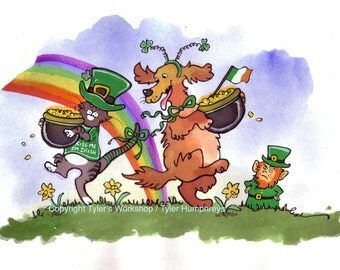 St Patricks Day Card - Funny St Patricks Day Card - Cat and Dog Card - Watercolor Pets Cartoon - Funny Animals Watercolor Greeting Card