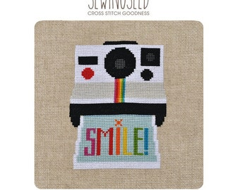 Smile Camera Cross Stitch Pattern Instant Download, Instant Camera Design, DIY Photography Cross Stitch