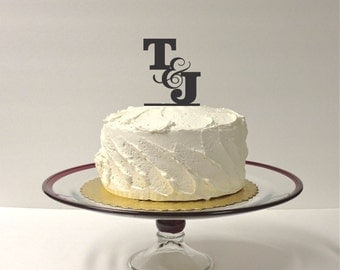 MADE In USA, Wedding Cake Topper MONOGRAM Personalized Wedding Cake Topper with Any 2 Initials of Your Choice Custom Monogram Topper