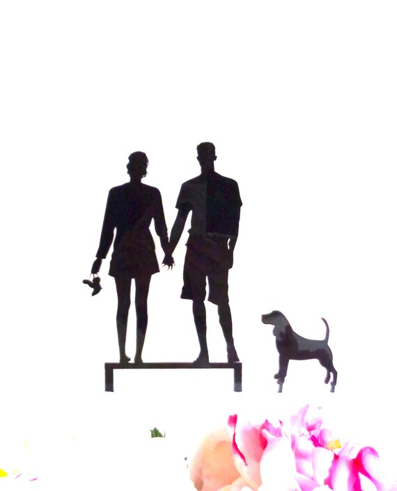 MADE In USA Surfer Couple Pet Dog Silhouette Wedding Cake
