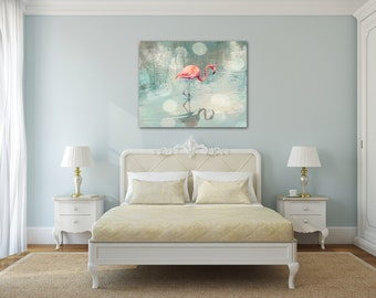 Wall Art Canvas Coral Teal Navy Rust Grey Wall Decor Canvas