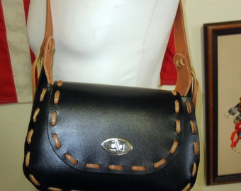 1970's Gypsy Chic Black Leather Purse with in EXCELLENT Condition