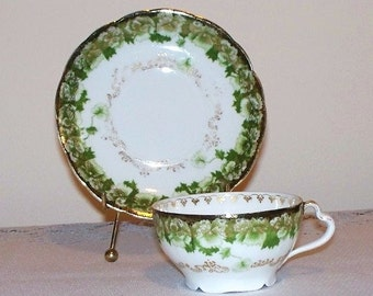 Vintage Rosenthal Iris Tea Cup and Saucer - Green Flowers - Item 830