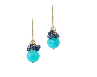 Larimar & Iolite Cluster Earring