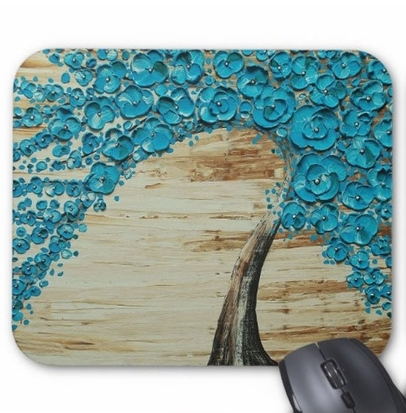 Mousepad Mouse Pad Fine Art Painting Water Blossom Tree Turquoise Flowers Wind Palette Knife Modern Impasto Blue Green Blossoms Sepia Brown