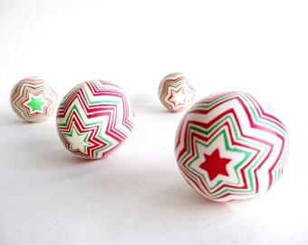 Chevron Pysanka, christmas candycane, Ukrainian Easter egg, chicken egg shell batik painted, Christmas gift, Easter, Christmas decorations