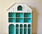 Painted Display Shelf - Curio Case - Whimsical House Shape - White & Turquoise