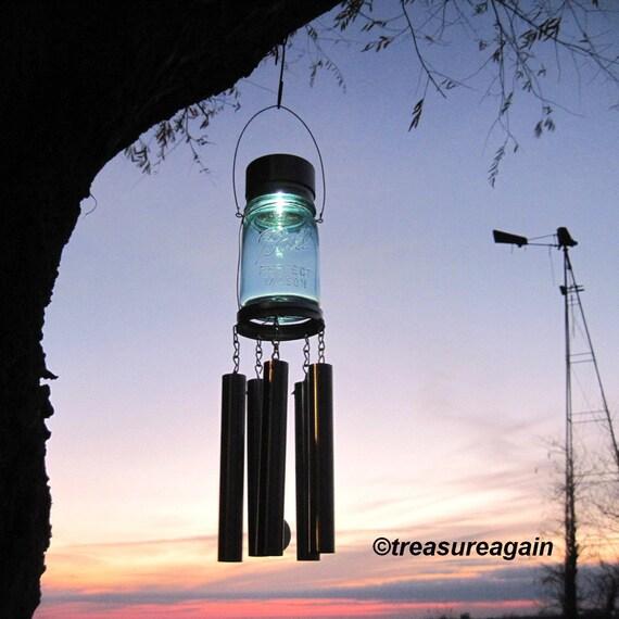 Mason Jar Windchime Light Solar Upcycled Garden Decor, Recycled Wind Chime Mason Jar Solar Light