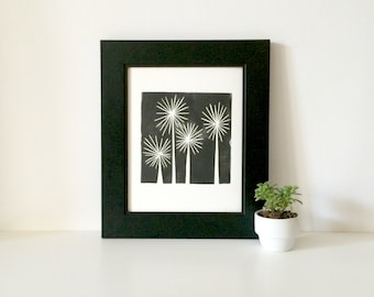 Mid Century Modern Art of Retro Trees in Black and White linocut print 8x10