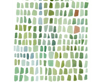 Watercolor painting - Green Sea Glass - abstract watercolor painting - little painting