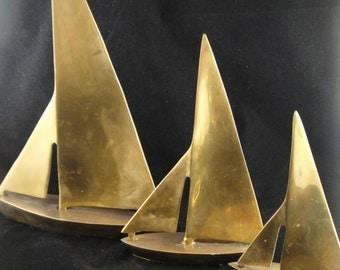 Brass Sailboats Set of Three Graduating Sizes Heavy