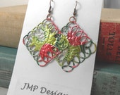 Metal Lace Diamond  Earrings.  DOUBLE-sided.  Recycled Soda Can Art.  AZ Tea Kiwi