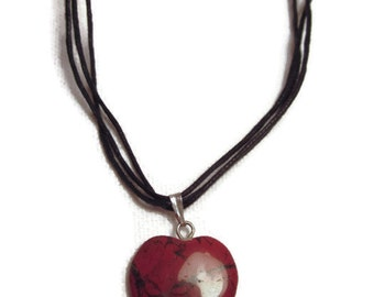 Dark Red Heart Shaped Jasper Stone Pendant with Black Cotton Cord