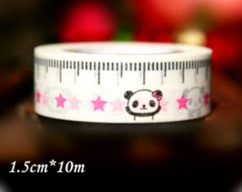 Panda Bear Washi Tape Roll - measuring tape 15mm x 10meters WT648