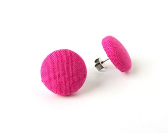 Vibrant pink button earrings - tiny magenta stud earrings - small fuchsia fabric earrings - solid pink